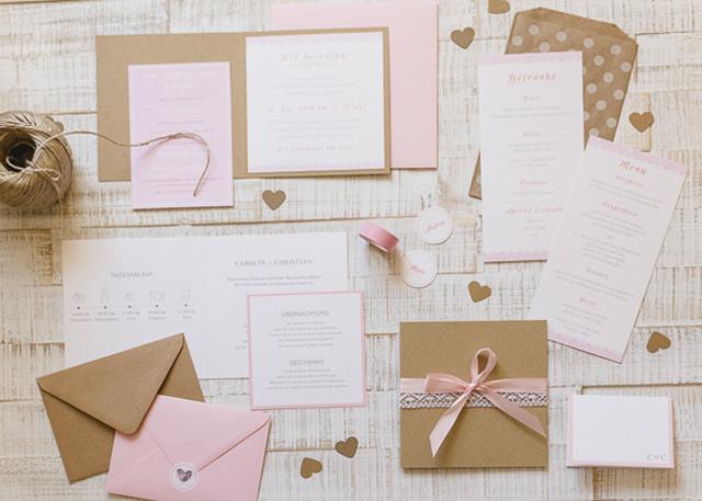 Vintage Papeterie, Hochzeitseinladungen mit SPpitze