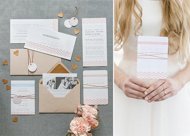 farbgold Hochzeitseinladungen im grafischen Stil