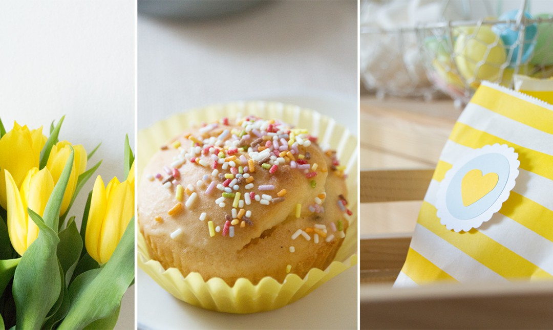 Osterdeko mal anders –  eine Candybar-Inspiration in frischem Gelb und leuchtendem Blau
