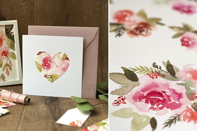 Valentinstag Karte basteln – eine Watercolour Idee