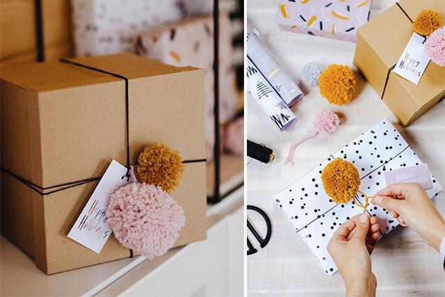Geschenke verpacken – 5 Minuten-DIY: Pompons aus Wollresten