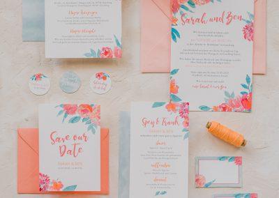 Papeterie Design bunt Blumen Watercolour Apricot