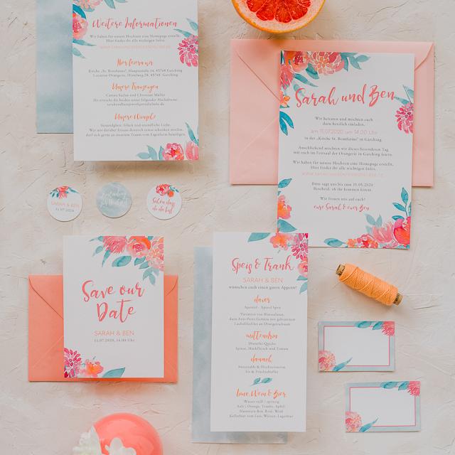 farbgold sweet little flowers- EInladungskarte für eure Sommerhochzeit