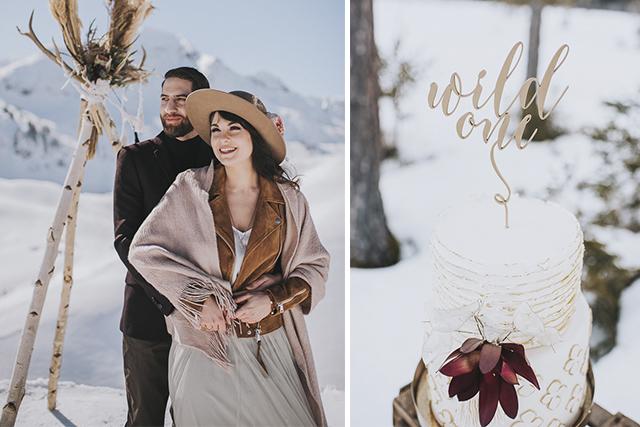 Heiraten im Winter Brautpaar im Schnee