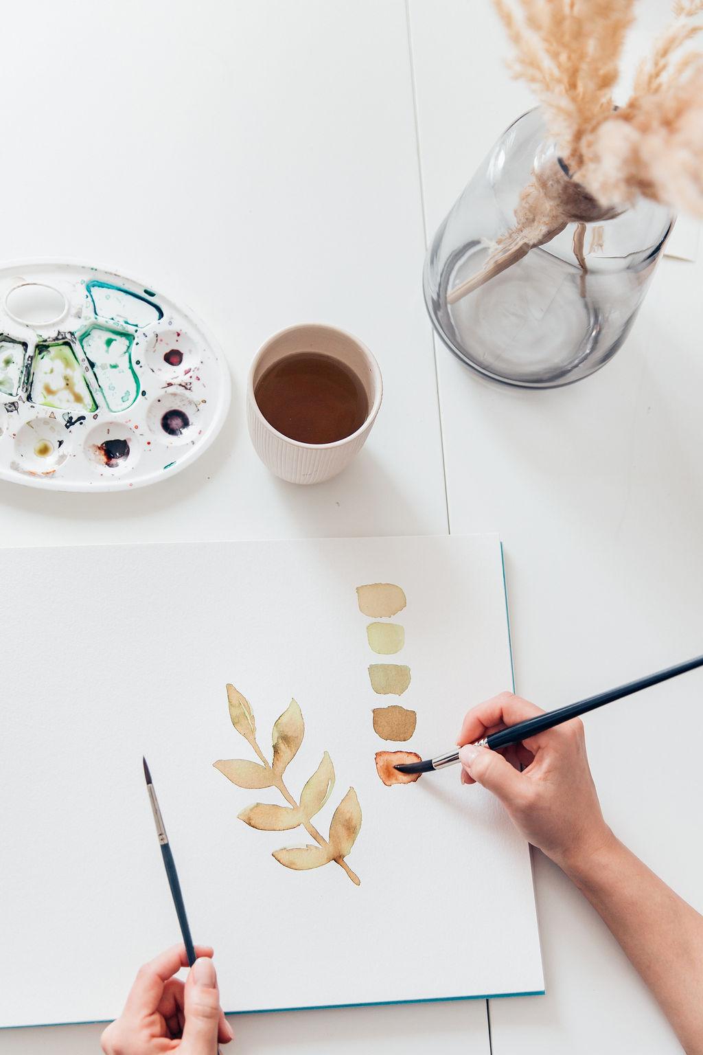 Watercolour malen mit Pinsel und Block