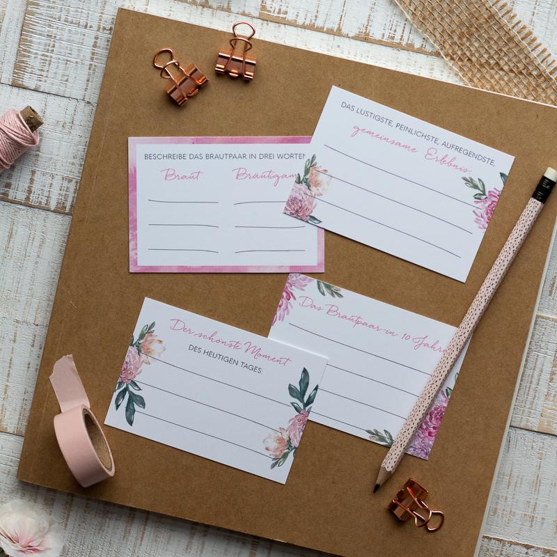 Gästebuch Kraftpapier Fragekarten