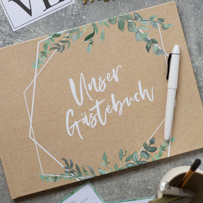 Gästebuch selbst mache Kraftpapier greenery
